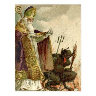 Heugabel-Priester Sankt Nikolaus Krampus Postkarte