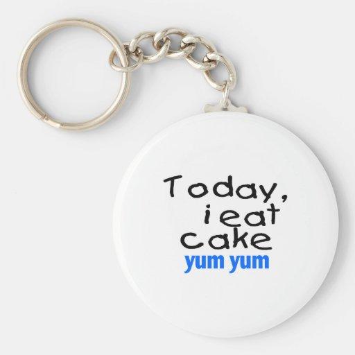 Heute esse ich Kuchen Yum Yum (Blau) Schlüsselanhänger