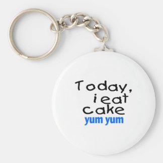 Heute esse ich Kuchen Yum Yum (Blau) Standard Runder Schlüsselanhänger