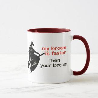 Hexe auf schnellerem Besen Tasse