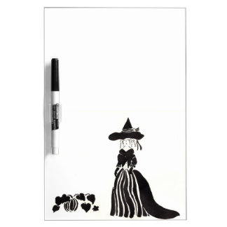 Hexe mit Kürbisen Trockenlöschtafel