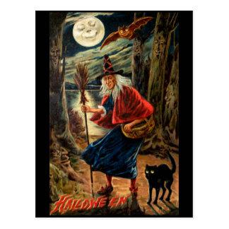 Hexe nachts Halloween Postkarten