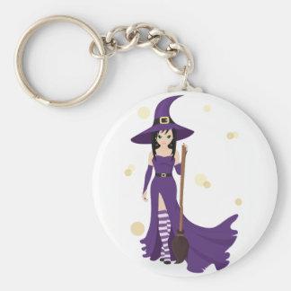 Hexe und Besen Keychain Standard Runder Schlüsselanhänger