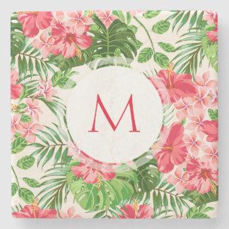 Hibiskus-Blumen-Monogramm-Stein C W Steinuntersetzer