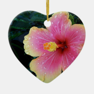 Hibiskus-Hawaiianer-Blume Keramik Herz-Ornament