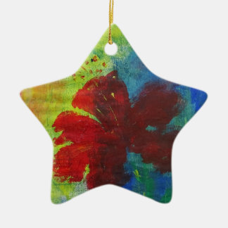 Hibiskus Keramik Ornament