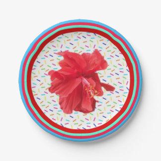 Hibiskus-Party besprüht und Streifen Pappteller