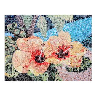 Hibiskusmosaik Postkarte