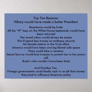 Hillary verbessern Präsidenten Poster