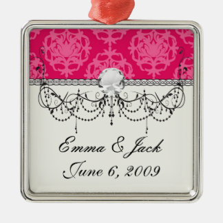 Himbeere und rosa Damast Silbernes Ornament
