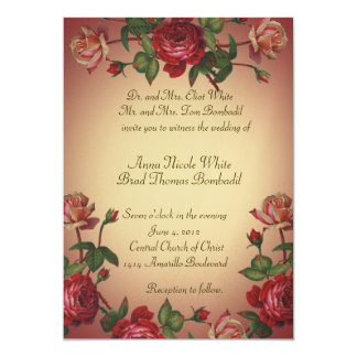 Himbeerviktorianische Rosen-Vintage Hochzeit laden 12,7 X 17,8 Cm Einladungskarte