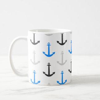 Himmel-Blau, Grau, Anker; Nautisch Tasse