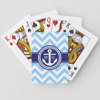 Himmel-Blau-Marine-Blau weißes Zickzack Spielkarten