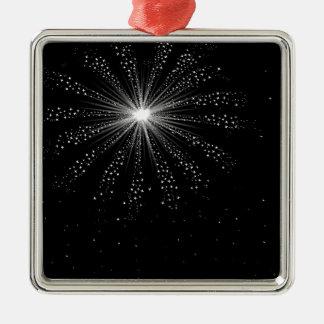 Himmel-Rocket-Explosion Quadratisches Silberfarbenes Ornament