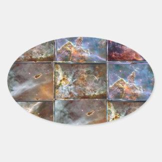HIMMEL Wellen-Fliesen-Arbeits-Grafiken Ovaler Aufkleber