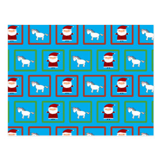 Himmelblau-Einhornweihnachtsmann-Muster Postkarte