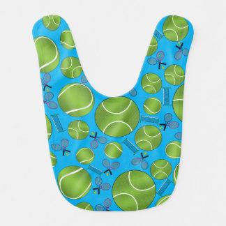 Himmelblau-Tennisballschläger und -netze Lätzchen