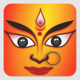 Hindische Göttin Durga Quadratischer Aufkleber