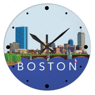 Hintere Bucht-Boston-Skyline-Computer-Illustration Große Wanduhr