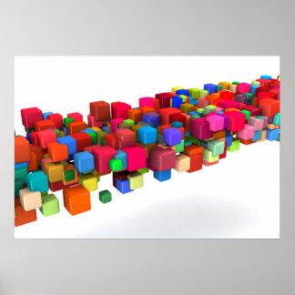 Hintergrund-Entwurf mit bunten Regenbogen-Blöcken Poster