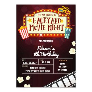 Hinterhof-Film-Nachtgeburtstags-Party Einladung