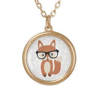 Hipster-BabyFox w/Glasses Vergoldete Kette