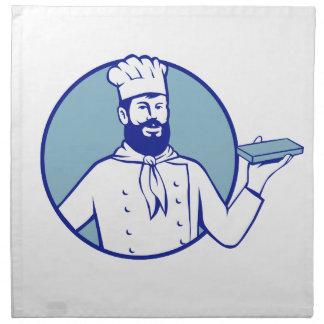 Hipster-Bäcker, der Schokoladen-Block Retro hält Serviette