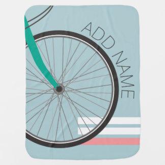 Hipster-Fahrrad-Rad mit individuellem Namen Baby-Decken