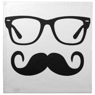 Hipster-Gläser u. Lenkstangen-Schnurrbart Stoffserviette