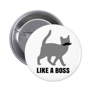 Hipster-Katze mögen einen Chef Runder Button 5,7 Cm