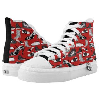 Hipster-Mode-rote lustige Schuh-Retro Cartoon cool Hoch-geschnittene Sneaker