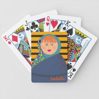 Hipster moderne Matryoshka bunte russische Puppe Bicycle Spielkarten