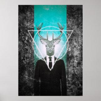 Hirsch im Anzug Poster