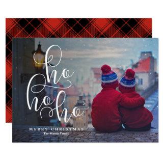 Ho Ho Ho weißes Überlagerungs-Feiertags-Foto 12,7 X 17,8 Cm Einladungskarte