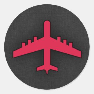 Hochrotes Rot-Flugzeug Runder Aufkleber