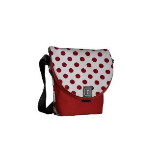 Hochrotes Rot-Tupfen-Kreise Kurier Taschen