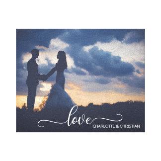 Hochzeit FOTO Andenken LIEBE + Namen Leinwanddruck