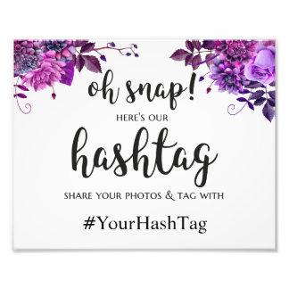 Hochzeit hashtag Zeichen. Lila instagram Plakat Fotodruck