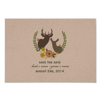Hochzeit im Herbsts-Blumenrotwild Save the Date Karte
