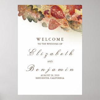 Hochzeit im Herbsts-willkommenes Zeichen Poster