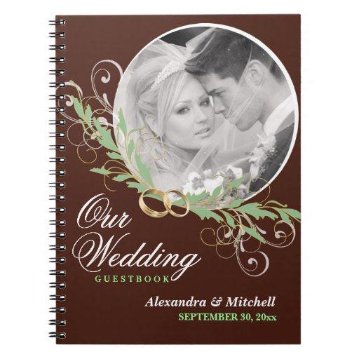 Hochzeitguestbook-kundenspezifisches Foto - Schoko Spiral Notizbücher