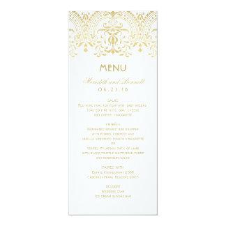 Hochzeits-Abendessen-Menü kardiert | GoldVintagen 10,2 X 23,5 Cm Einladungskarte