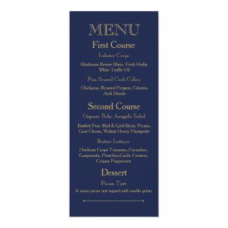 Hochzeits-Abendessen-Menü-Karte mit dunkelblauem 10,2 X 23,5 Cm Einladungskarte