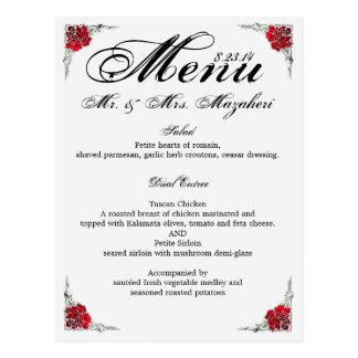 Hochzeits-Abendessen-Menü mit danken Ihnen, an Postkarte