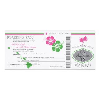 Hochzeits-Boarding-Durchlauf nach Hawaii 10,2 X 23,5 Cm Einladungskarte