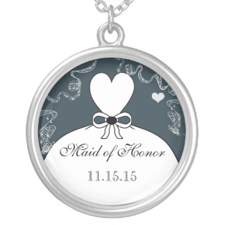 Hochzeits-Brautjungfern-Andenken danken Ihnen Halskette Mit Rundem Anhänger