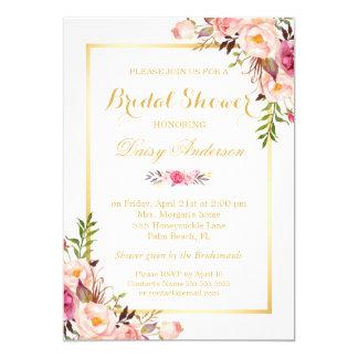 Hochzeits-Brautpartychic-goldener mit Blumenrahmen Karte