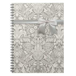 Hochzeits-Damast-Vintage weiße Hochzeits-alte Spiral Notizbuch