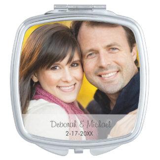 Hochzeits-Datums-Foto-Spiegel-Vertrag Taschenspiegel