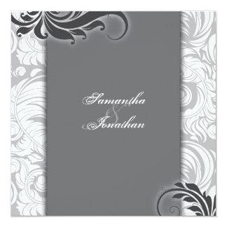 Hochzeits-Einladungs-schwarzer u. weißer eleganter Quadratische 13,3 Cm Einladungskarte